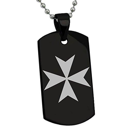 Black Stainless Steel Maltese Cross Symbol Engraved Dog Tag Pendant (Steel Maltese Cross)