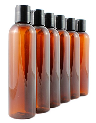 (8oz Empty Plastic Bottles with Disc Top Flip Cap (6 pack); BPA-Free Containers For Shampoo, Lotions, Liquid Body Soap, Creams (8 ounce, Amber Brown))