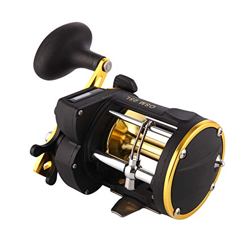 Deep Sea Fishing Line Wheel Counter, 6:1 Tooth Speed Than Drum Boat Fishing Full Metal Sea Hook Fishing with Alarm Ringtone Multiplier Reel (Best Multiplier Reel For Boat Fishing)
