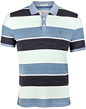 Heathered Wide Stripe Polo in Captains Blue