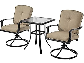 Patio Bistro Set Seats 2 Cushioned Swivel Chairs Outdoor Small Space Deck Porch Tan