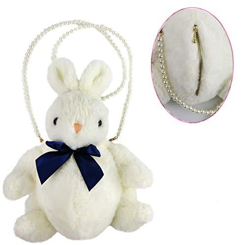 (Athoinsu Stuffed Bunny Clutch Bag Rabbit Plush Toy Inclined Shoulder Bag Convenient Purse for Girls, White, 12'')