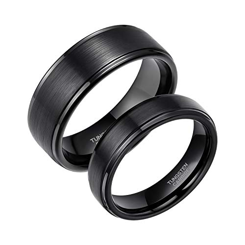 - 6mm Black Wedding Ring for Men Women Brushed Tungsten Carbide Engagement Band Rings Size 7.5