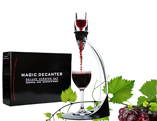 Wine Aerator Set Decanter Pourers Magic Decanter Deluxe Aerator Stand with Holder Base Travel Pouch Boxed Wine Gift by YBC (Ventura Wine Aerator)