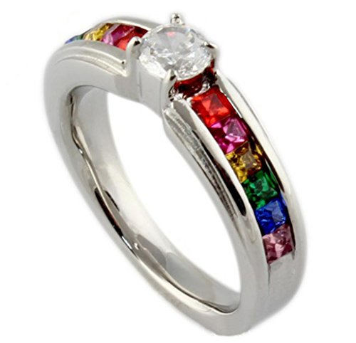 AMDXD Jewelry Titanium Stainless Steel Jewellery Women's Fashion Rings Promise CZ Colorful US Size 5