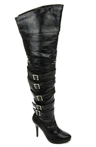 Wild Rose Women's High Heel Platform Fetish Sexy Dom Thigh High Boots FURGE-81 BLACK
