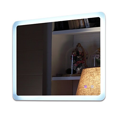 Mercury Wall Vanity - Somelove LED Wall Mounted Lighted Vanity Bathroom Mirror Frameless Commercial Grade Polished Edge Silver Backed Horizontal Or Vertical mobel 8026 34 inch x 24 inch