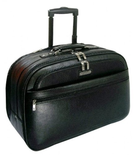 Wmu Full Grain Leather, Carry-On Rolling Briefcase 21''X13.75''X10'', Black (Pack Of 1) by WMU