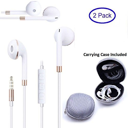 VMwireless 2X New Style Premium Earphone 3.5mm Jack Bass with Mic and Remote For IPhone IPod IPad Samsung Android LG Sony HTC MAC PC MP3 MP4 Tablet Etc Come With Carrying Case (White)