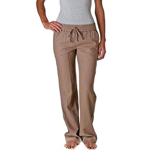 Love Tree Womens Linen Drawstring Pants (Mocha, Medium)