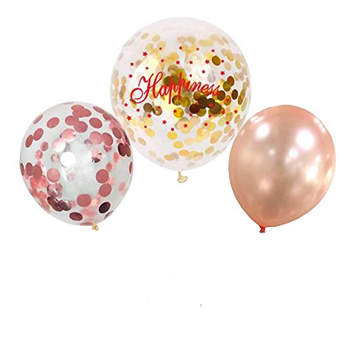 Confetti Balloons Rose and Gold 20 Pack   Wedding Engagement Birthday Bachelorette Party -