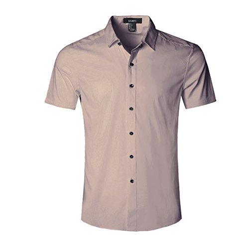 606a36f7c6d GILBETI Men s Slim Fit Solid Dress Shirts Button Down Cotton Short Sleeve  Shirt