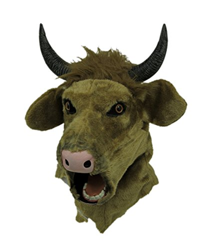 Brown Cow Moving Mouth Faux Fur Adult Horned Bull Mask ()