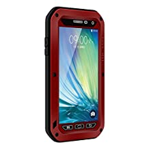 Waterproof Case for Galaxy A5,Shockproof Waterproof Dust Proof Love Mei Aluminum Metal Gorilla Glass Protection Hybrid Hard Powerful Case For Samsung Galaxy A5 (Red)