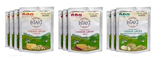 (Intakt Cheese Snacks Low Carb Crunchy Bites, made from Grass-Fed Cow's Milk – Assorted Pack (4 Original, 3 Spicy, 3 Mozzarella Blue Cheese))