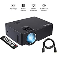 GBTIGER Full HD 2500 Lumens Projector Portable Mini Home Theater 800 x 480 Pixels Support 1080P with VGA HDMI USB SD Card Slot for Home Theater Video Projector Cinema Movie Party Games, Black