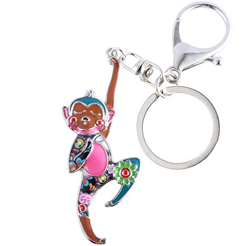 Luckeyui Unique Monkey Keychain Gift for Women Multicolor Enamel Animal Charm Keyring ()