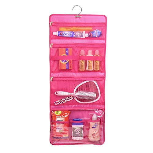 Yofi Nurture yourself Hanging Toiletry Bag Organizer for Cosmetics, Makeup, Jewelry, Toiletries, Shaving Tools in Pink Expandable, Polyester Case with Zippers and Sections for Home or Traveling