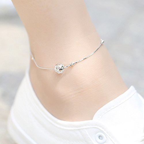 - usongs s925 sterling silver Foot Chain anklet ankle chain hollow circular Passepartout women girls models sweet temperament fashion simple personalized gift