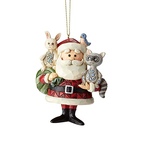 Woodland Santa Ornament - Enesco Rudolph The Red Nosed Reindeer by Jim Shore Santa with Woodland Animals Hanging Ornament, 3.6