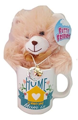 Coffee Mug, Plush Bear, Love You To The Moon And Back Silver And Gold Necklace Mother's Gift Set ()