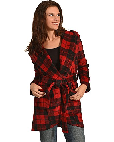Jack by BB Dakota Women's Stanley Buffalo Plaid Wrap Coat, Salsa Red, Small