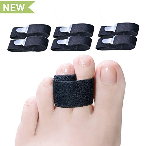 Welnove Toe Wraps Cushions Splints 6 Pcs Elastic Toe Straightener Bandages Relieve Pain from Broken-Crooked-Claw-Overlapping-Bent-Hammer Toe for Men and Women