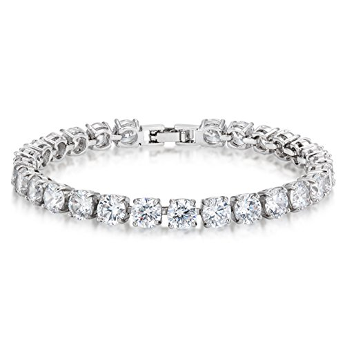 CZ Tennis Bracelet 6mm Round Cut Silver over Brass 7 inch