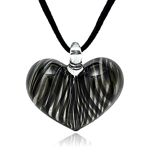 (Hand Blown Venetian Murano Glass Black Curve Line Heart Shaped Pendant Necklace, 18-20)