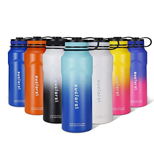 SUCFORST Water Bottle, 2 Extra Accessories - Vacuum Insulated Stainless Steel Wide Mouth Mug, Hot & Cold - Powder Coated Double - Walled Flask for Sports (36 oz, Twilight Blue/Teal Blue)