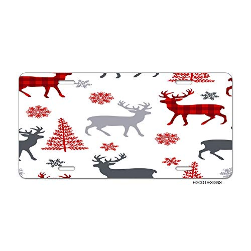 HGOD DESIGNS Christmas License Plate,Christmas Deer Red Tartan Design with Tree Snowflakes Pattern License Plate Decorative Front Plate Car Tag 6