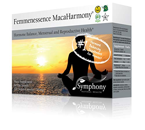 Femmenessence MacaHarmony - All Natural Gelatinized Maca Supplement to Support Women's Hormone Balance, PMS, Acne & Healthy Skin, Regular Menstrual Cycle & Fertility (120 capsules, 60 day supply) (Hormonal Support Concentrated)