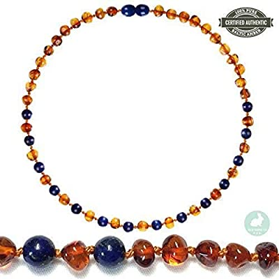 New Blue Rabbit Co Baltic Amber Teething Necklace for Babies GIA Certified Pure Baltic Amber No More Gels /& Tablets Improved Natural Oral Relief Unisex Baby Necklace Cognac//Lapis Lazuli