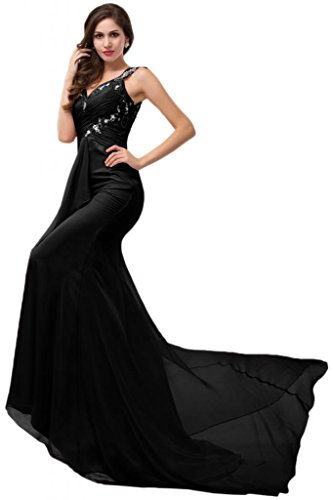 Sunvary ritratto sirena guaina Pageant Prom Gowns Bling paillette