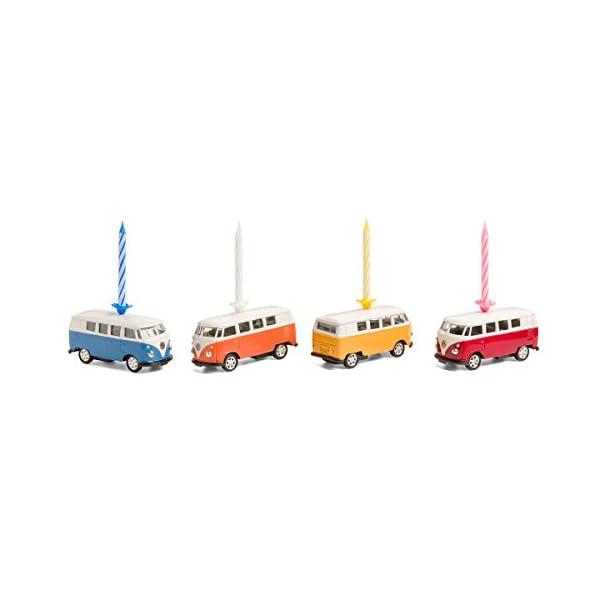 corpus delicti :: Kerze auf Rädern – kompatibel mit VW Bus T1 Bulli – 4er Set gemischt (blau, orange, gelb, rot) (20…