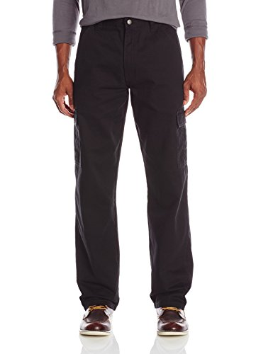Cotton Cargo Pocket Pants - Wrangler Authentics Men's Classic Cargo Pant  Black Twill  34W x 32L