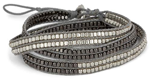 (SPUNKYsoul New! Handmade Boho 3 Wrap Bracelet Silver and Gun Metal Silver for Women Collection)