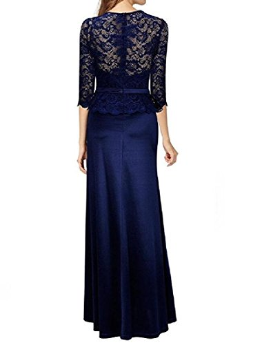 Long Lace Bridesmaid Party Dresses Purplish Blue Dress Simple Coolred Solid Women Evening pqEa8Cw