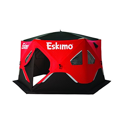 Eskimo FF6120I FatFish Insulated Pop-up Portable 6-Sided Ice Shelter, 5-7 - Shelter Ice Fishing Clam