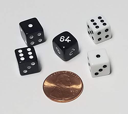 Backgammon Doubling Cube 10mm Dice Set / Replacement or Travel Set Very Small ()
