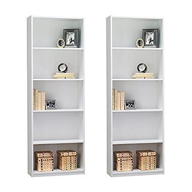 Ameriwood 5-Shelf Bookcase, Set of 2, White