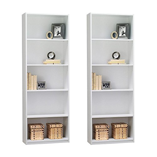 Ameriwood 5-Shelf Bookcase, Set of 2, White