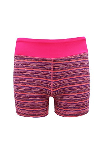 90 Degree by Reflex Kids - Girls Textured Zig Zag Shorts - Junior Activewear - Pink Purple Combo Small (7/8)