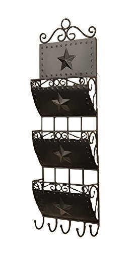 Your Heart's Delight 3-Pocket Letter Holder with 5 Hooks Wall Rack, 8 by 24-Inch from Your Heart's Delight