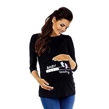 Zeta Ville Maternity - Womens Pregnancy funny Baby Feet print T-shirt Top 549c (Black, US 6/8)