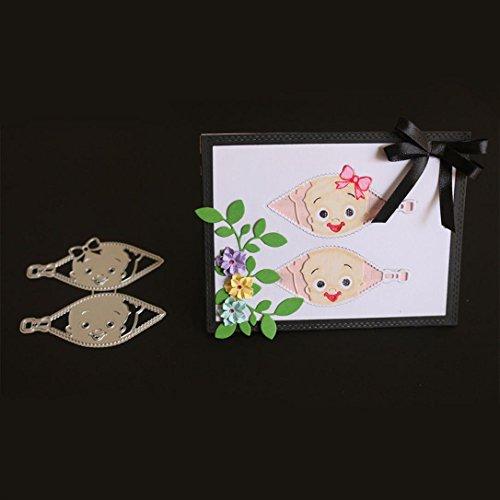 Transer Metal Die Cutting Dies Baby Boys Girls Stencil for DIY Scrapbooking Album Paper Card Decor Craft (E)
