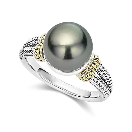bromrefulgenc Fashion Ring for Women,Retro Women Faux Pearl Dual Color Carved Engagement Finger Ring Jewelry Gift - Silver US 7