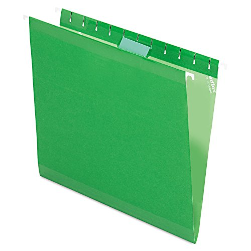 Pendaflex Reinforced Hanging File Folders, Letter Size, Bright Green, 1/5 Cut, 25/BX (4152 1/5 BGR)