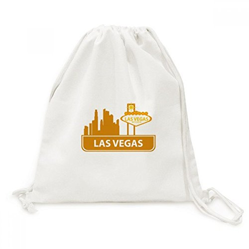 Welcome To Las Vegas Nevada America Canvas Drawstring Backpack Shopping Travel Lightweight Basic Bag - Shopping Nevada Las Vegas