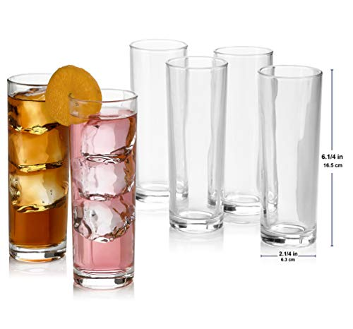Set of 8 Highball Glasses, Cocktail Highball Glasses, Tall Drinking Glasses for Water, Juice, Cocktails, Beer and More…